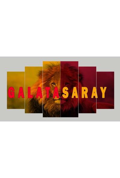 Renk Vagonu Galatasaray Aslan Temalı 6 Parça Mdf Tablo