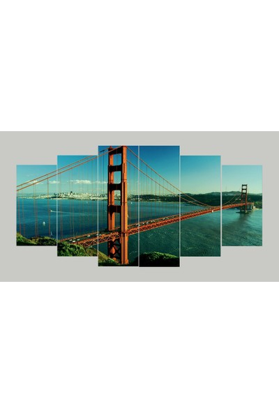 Renk Vagonu Köprü Şehir Manzarası 6 Parça Mdf Tablo