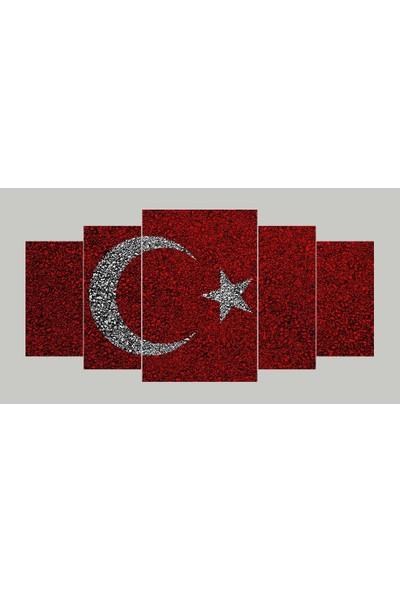 Renk Vagonu Türk Bayrağı 6 Parça Mdf Tablo