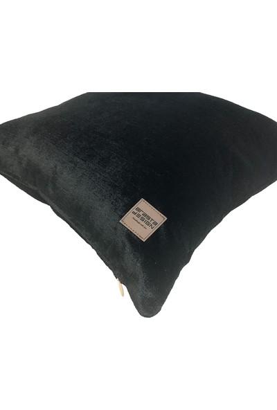 Arasta Design Siyah Kırlent Kılıfı Kadife Düz Renk, 43X43 cm