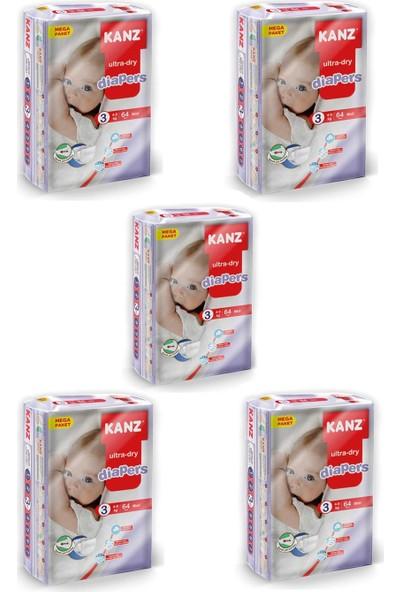 Kanz Mega Paket Bebek Bezi- Midi 4 - 9 kg Koli 5 Li