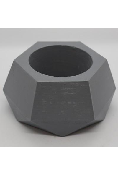 El Yapımı Beton Saksı Geometrik Kaktüs Sukulent Saksısı Gri