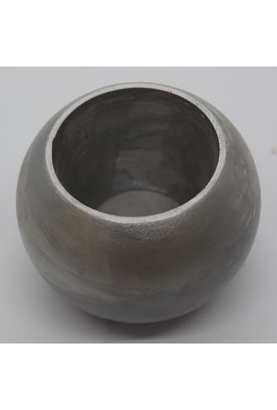 El Yapımı Beton Saksı Yuvarlak Kaktüs Sukulent Saksısı Gümüş