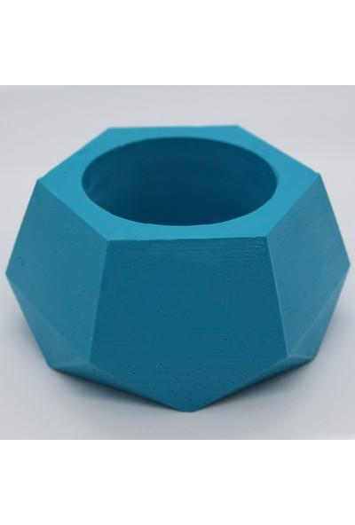 El Yapımı Beton Saksı Geometrik Kaktüs Sukulent Saksısı Turkuaz