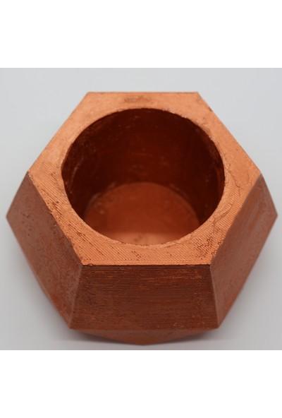 El Yapımı Beton Saksı Geometrik Kaktüs Sukulent Saksısı Bakır