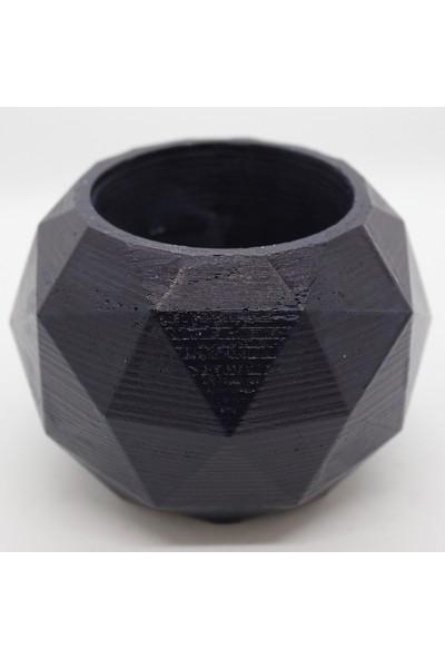 El Yapımı Beton Saksı Geometrik Kaktüs Sukulent Saksısı Lacivert