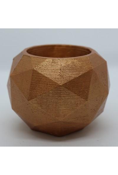 El Yapımı Beton Saksı Geometrik Kaktüs Sukulent Saksısı Bronz