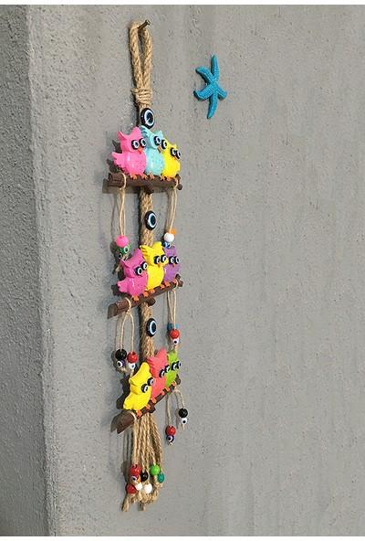 Bimbambom Renkli Baykuş Duvar Süsü, Dekoratif Bahçe, Balkon Süsü