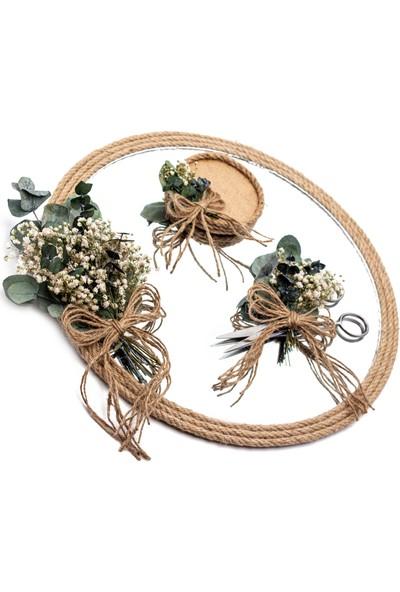 Lora Wedding Doğal Kurutulmuş Çiçekli Söz - Nişan Tepsisi Takımı