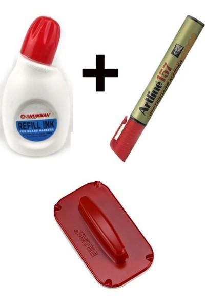Artline Doldurulabilir Beyaz Tahta Kalemi + Snowman 30 cc Mürekkep + Silgi Kırmızı