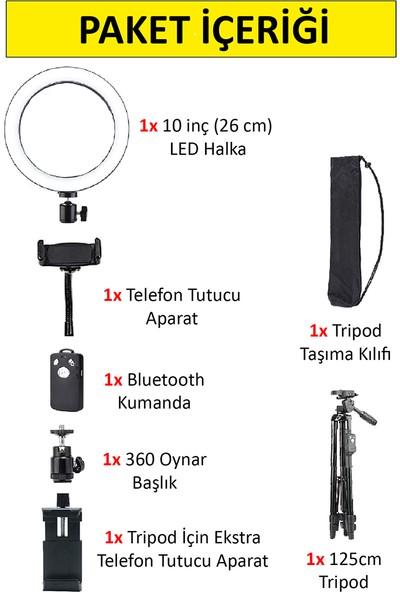 Wlue Bluetooth LED Işıklı Tripod Selfie Işığı Ring Light 10 Inç Halka 156CM