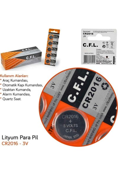 C.F.L. Para Pil 3V Lityum 1'li Düğme Pil C.f.l. CR2016