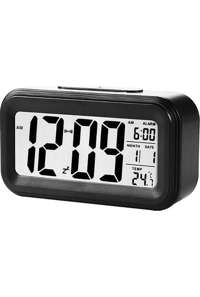CoverZone Dijital Alarmlı Masa Saati LED Ekran Pilli Çalar Saat Siyah