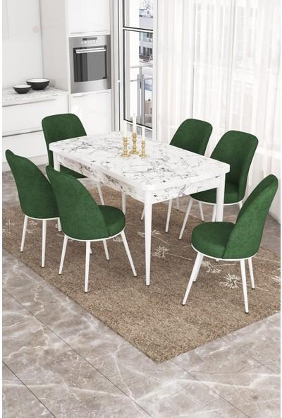 Rovena Azra Serisi Mdf Açılabilir Beyaz Mermer Desenli Masa Takımı +6 Adet Sandalye