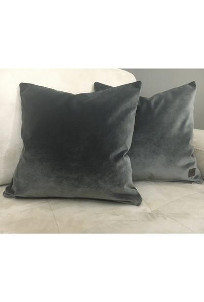 Arasta Design Antrasit Gri Kırlent Kılıfı Kadife Düz Renk, 43 x 43 cm