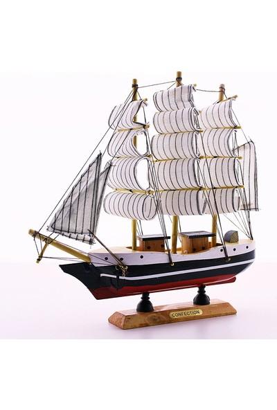 Hediye Filesi Ahşap El Yapımı Yelkenli Gemi Maketi Dekoratif Hobi 23CM- E