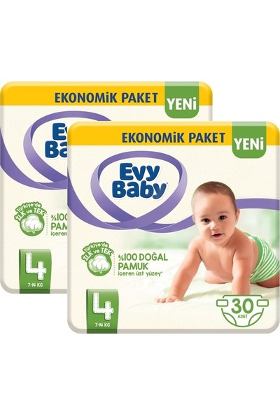 Evy Baby Bebek Bezi 4 Beden Maxi 2'li Fırsat Paketi 60'lı