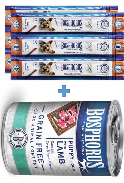 Bosphorus Puppy Kuzu Etli Yavru Köpek Konserve Mama 415 gr + Sticksödülçubuğu 2 x 3