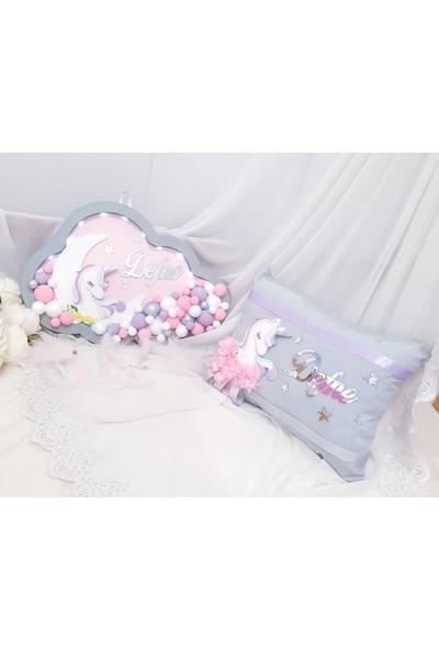 Pegu Ahşap Unicorn Işıklı Bulut Kapı Süsü ve Takı Yastığı Seti