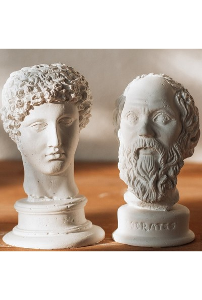 Lalezen Beyaz Hermes Sokrates Heykel Büst 2'li