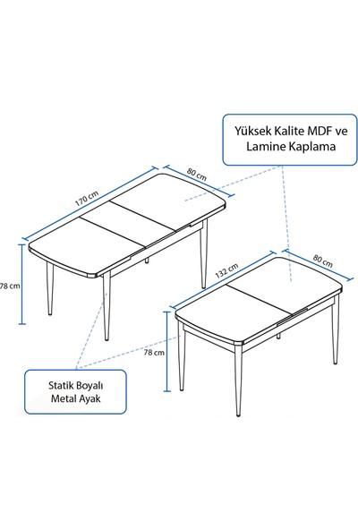 Rovena Azra Serisi Mdf Açılabilir Beyaz Masa Takımı +8 Adet Sandalye