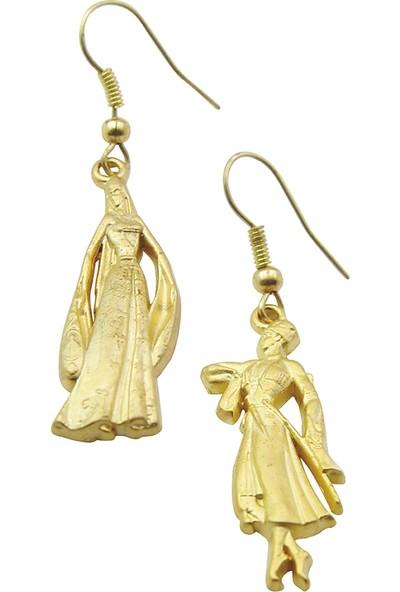 Anahtarlık Sepeti Kafkas Bayan-Erkek Figürlü Altın Kaplama Küpe