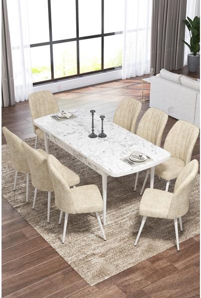 Rovena Vera Serisi Mdf Beyaz Mermer Desenli Mutfak Masası Takımı + 8 Adet Sandalye
