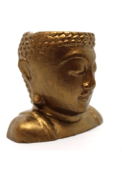 El Yapımı Buddha Saksı Hediyelik Beton Heykel Büst 10 cm