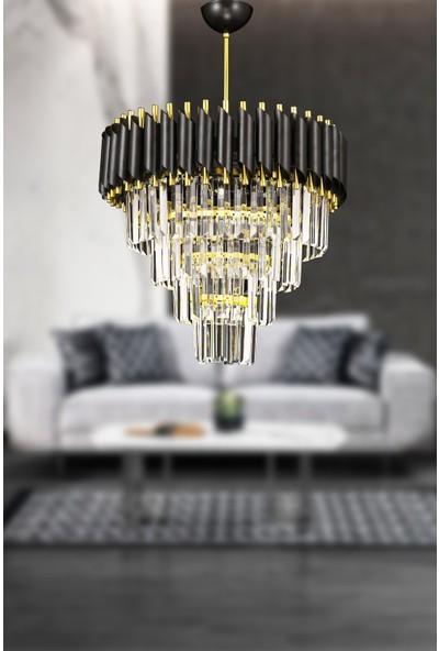 Luna Lighting Siyah Gold 45'lik Kristal Taşlı Lüks Avize