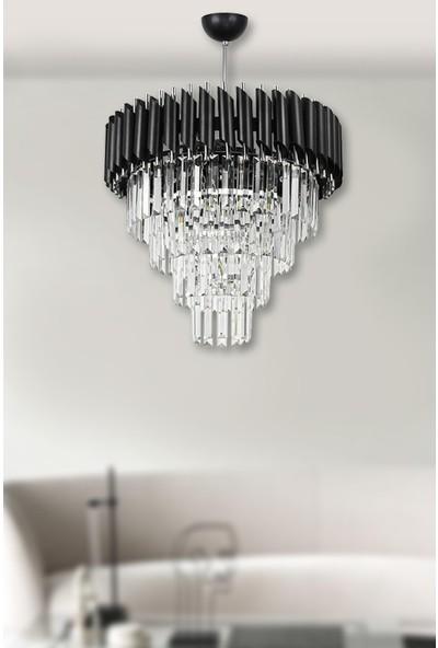 Luna Lighting Siyah Krom 45'lik Kristal Taşlı Lüks Avize