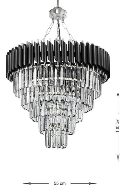 Luna Lighting Siyah Krom 55'lik Kristal Taşlı Lüks Avize