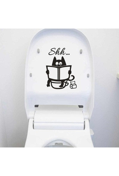 İnce Reklam Sevimli Karikatür Kedi Banyo Kapı Klozet Dekoratif Sticker