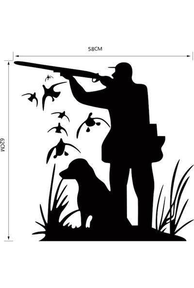İnce Reklam Avcı ve Köpek Yaratıcı Duvar Sticker Siluet