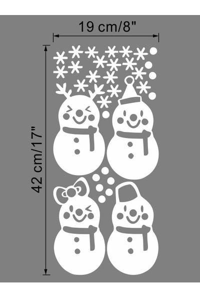 İnce Reklam Beyaz Dört Noel Kardan Adam Desen Duvar Çıkartmaları