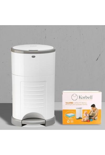 Korbell Bebek Bezi Çöp Kovası Sistemi +495 Adet Bez Kapasiteli Çöp Poşeti