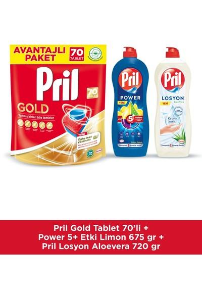 Pril Gold 70 Tablet + Elde Yıkama 675 gr Limon Kokulu + 750 gr Losyon Aloevera