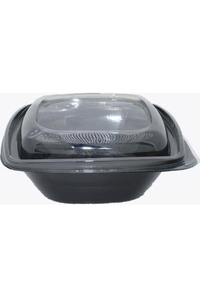Salata Kabı Siyah 1000 gr + Kapak 100'LÜ