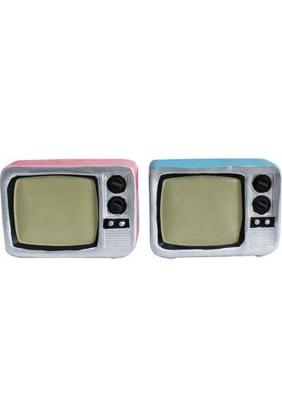 ŞEN 2'li Ahaşap Dekoratif Nostalji Renkli Televizyon Biblo