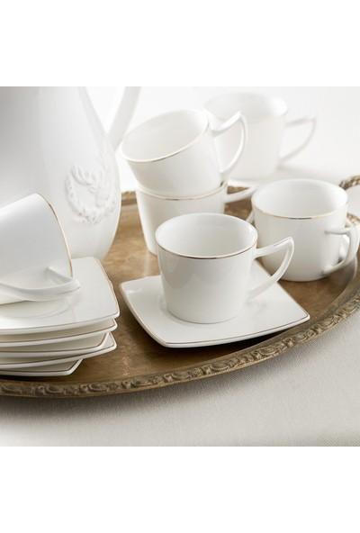 Karaca Kare Tabaklı 6 Kişilik Kahve Fincan Takımı