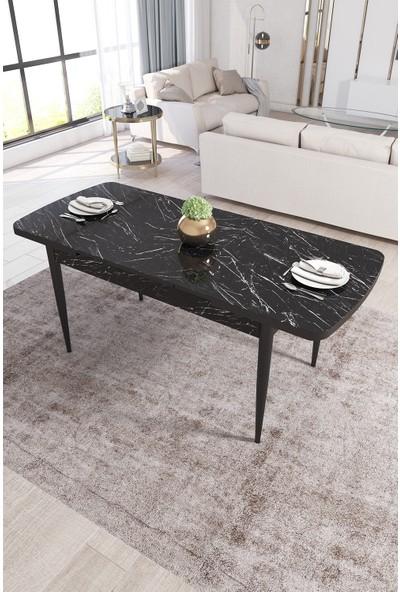 Rovena Vera Serisi Mdf Siyah Mermer Desenli Mutfak Masası Takımı + 6 Adet Sandalye