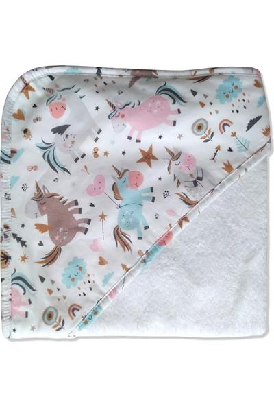 Blue & Pink Unicorn Bebek Banyo Kundağı 75X75