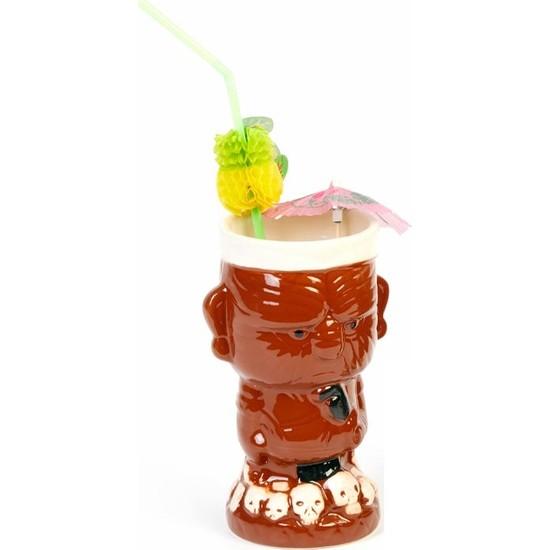 Biradlı Tiki Mug Kokteyl Bardağı, Seramik, 410 Cc, 8.5X16.5 Cm, Kahverengi