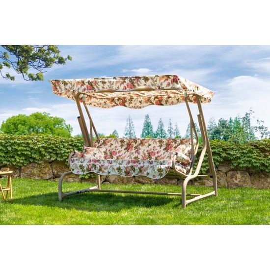 Oguzser Ingiliz Gülü 3 Kişilik Bahçe Salıncağı Teras Balkon Salıncak 200 cm