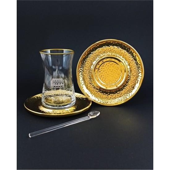 Kardeşler Pazarlama 18 Parça El Işçiliği Gold Galata Tower Collection Çay Bardağı Takımı Seti