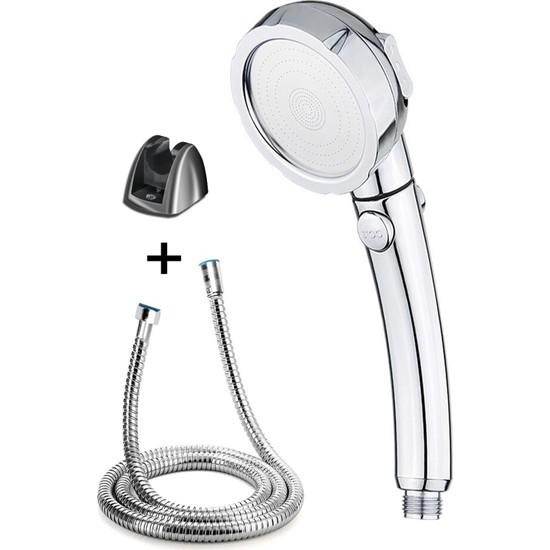 Brkyapı Su Tasarruflu 3 Fonksiyonlu Aç/kapa Butonlu Hortum Mafsal Duş Başlığı Set
