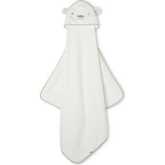 Mothercare Pamuklu Bebek Banyo Havlusu Kundak Beyaz Ayıcık