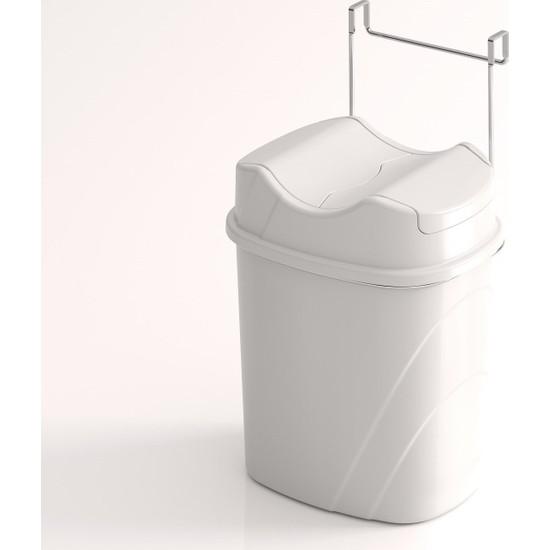Teknotel Dolap İçi Askılı Yutan Kapak Çöp Kovası Beyaz + Beyaz Kova