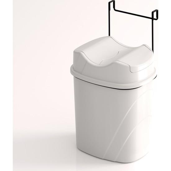 Teknotel Dolap İçi Askılı Yutan Kapak Çöp Kovası Mat Siyah + Beyaz Kova