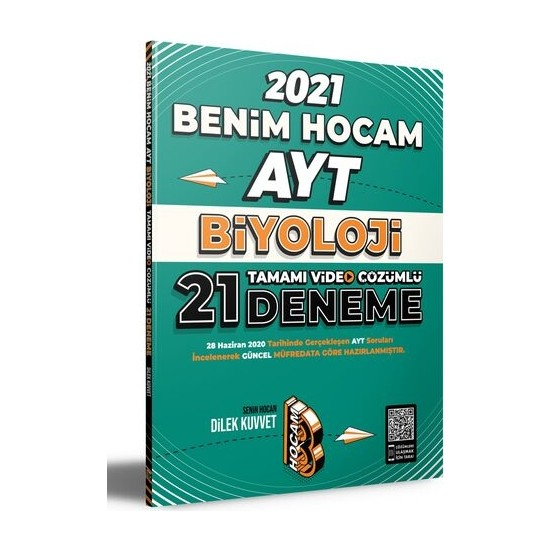Benim Hocam Yayınları 2021 AYT Biyoloji Tamamı Video Çözümlü 21 Deneme Sınavı - Dilek Kuvvet