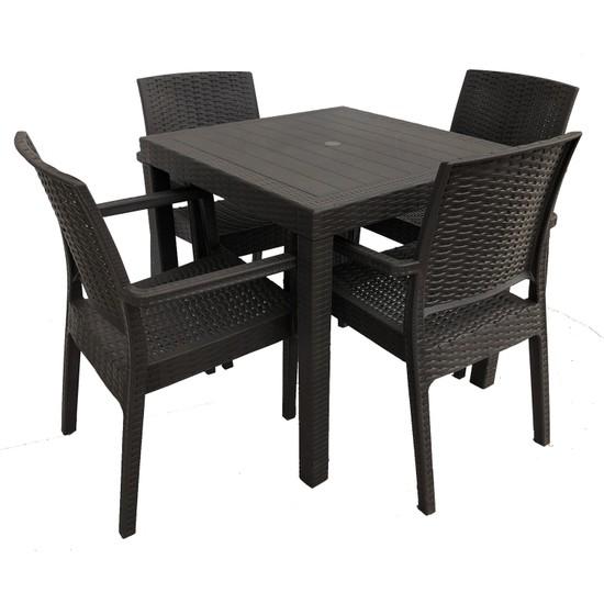 Romanoset Plastik Lara 4 Sandalyeli 80 x 80 cm Rattan Bahçe ve Balkon Masa Takımı